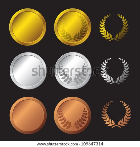 Three detailed vector medals - gold, silver and bronze - stock vector