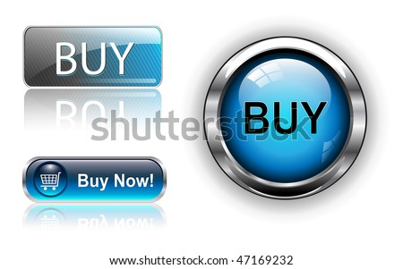 Three different buy icon button blue, vector illustration. - stock vector