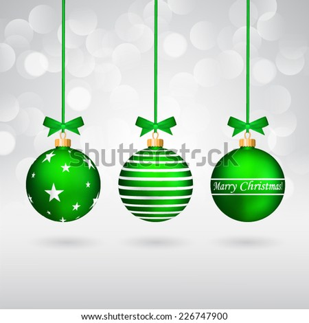 Three different decorated christmas balls with bows on sparkling background. - stock vector