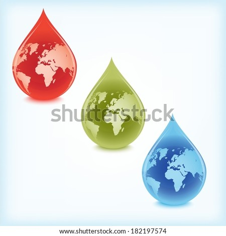 Three different droplets with world globe inside - stock vector