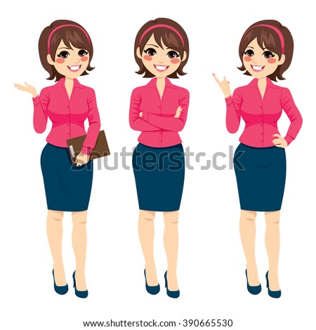 Three different full body illustration of beautiful brunette businesswoman standing making gestures - stock vector