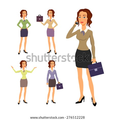Three different full body illustration of beautiful brunette businesswoman with glasses posing making gestures - stock vector