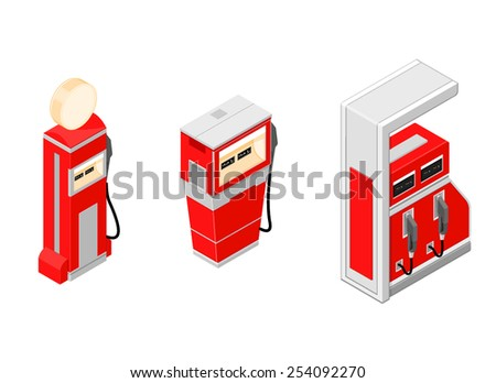 Three different isometric fuel and gas pumps. Isometric gas pumps. Fuel and gas pumps. - stock vector