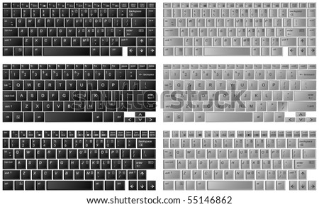 three different kinds of desktop keyboards in layered vector - stock vector