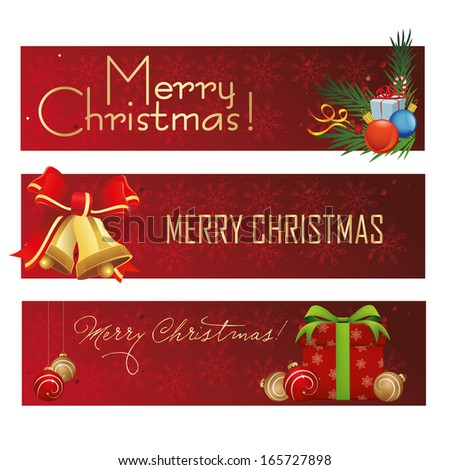 three different red banners for christmas with text - stock vector