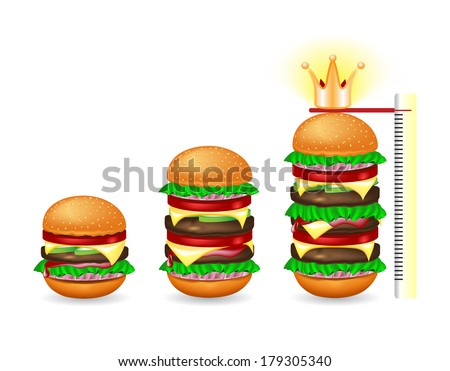 Three different sizes of fresh hamburger on a white background - stock vector