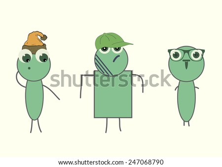 Three different stylized green the character with attributes - stock vector