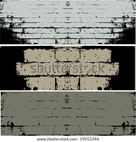 Three different types of grunge WALL  vector background - stock vector