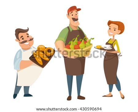 Three different vector professions designs. Backer, farmer and waiter. People cartoon style character designs.  - stock vector