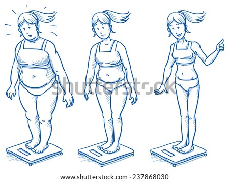 Three different women standing on scales, fat overweight, plump and slim. Fitness studio training weight loss. Hand drawn doodle vector illustration. - stock vector