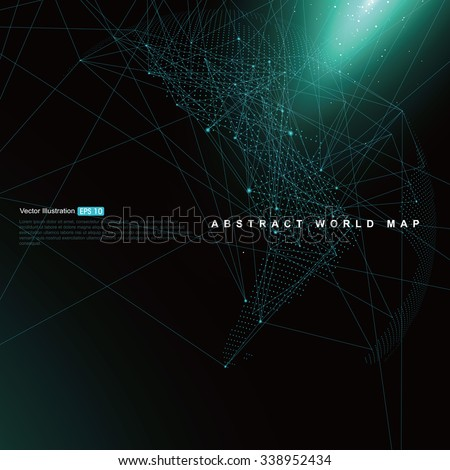 Three-dimensional abstract planet, Dot world map consisting of, representing the global,  Global network connection,international meaning. - stock vector