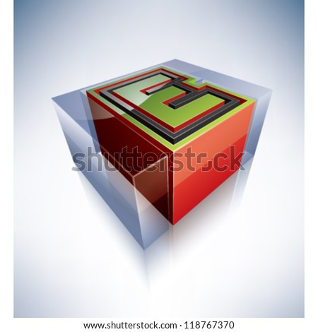 Three-dimensional alphabet: Capital letter L in a transparent ice cube like blue box on a blue background