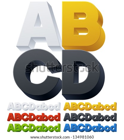 Three-dimensional alphabet. Vector illustration of 3d font characters. Plastic style. Letters abcd - stock vector
