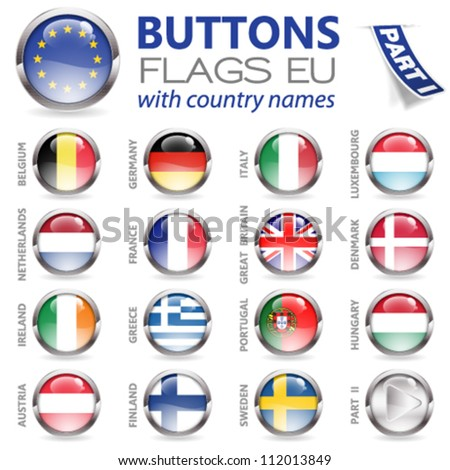 Three Dimensional Buttons with Country Flags for European Union (EU), vector illustration