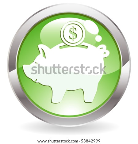Three Dimensional circle button with piggy bank icon, vector illustration - stock vector