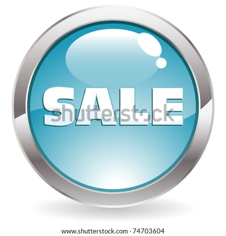 Three Dimensional circle button with Sale icon, vector illustration - stock vector