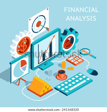 Three Dimensional Colored Financial Analysis Concept Graphic Design on Light Blue Background Emphasizing Target  Currency  Computer and Gears. - stock vector
