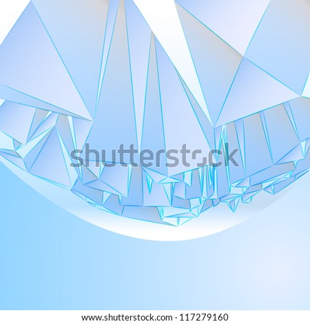 three dimensional crystal blue card with flare vector template - stock vector
