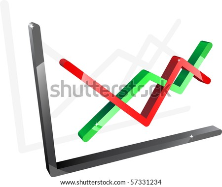 Three-dimensional diagram with two lines. Vector. - stock vector