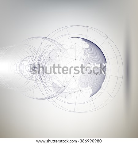 Three-dimensional dotted world globe with abstract construction and molecules on gray background, low poly design vector illustration. - stock vector