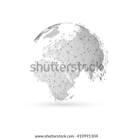 Three-dimensional dotted world globe with abstract construction and molecules on white background, low poly design vector illustration. - stock vector