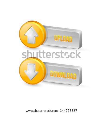Three dimensional download and upload buttons with arrow icons