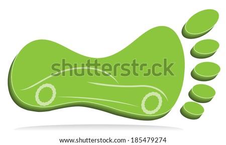 Three dimensional foot mark with car, creative vector design. - stock vector