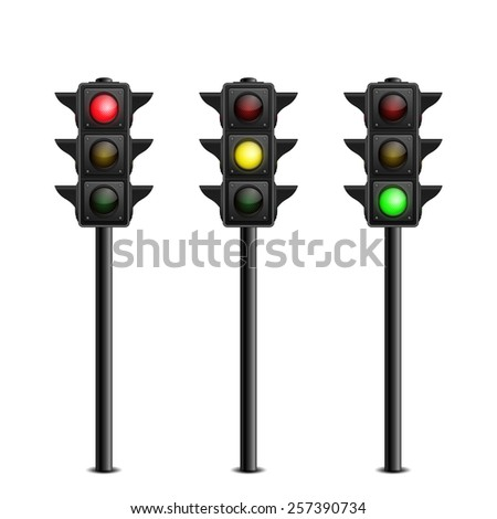 Three-dimensional full length traffic lights on white background. Vector illustration.  - stock vector