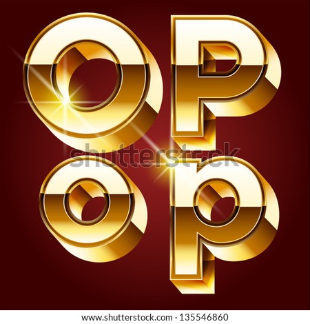 Three-dimensional golden alphabet. Vector illustration of 3d realistic font characters of gold. Letters o p - stock vector