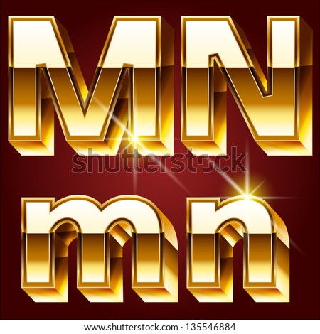 Three-dimensional golden alphabet. Vector illustration of 3d realistic font characters of gold. Letters  m n