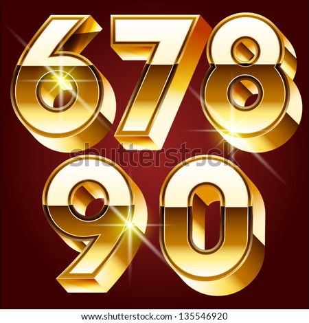 Three-dimensional golden alphabet. Vector illustration of 3d realistic font characters of gold. Numbers 6 7 8 9 0 - stock vector