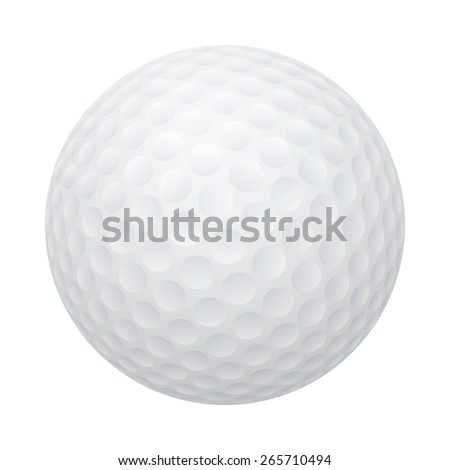 Three-dimensional golf ball isolated on white background. Vector EPS10 illustration.  - stock vector