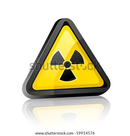 Three-dimensional Hazard warning sign with radiation symbol on white background with reflection