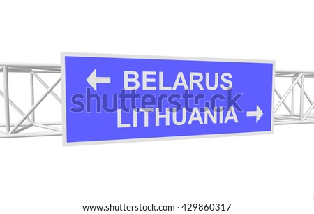three-dimensional illustration of a road sign with directions: BELARUS; LITHUANIA