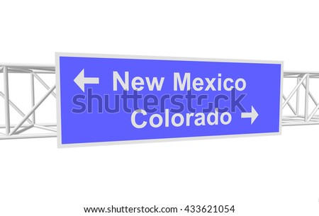 three-dimensional illustration of a road sign with directions: New Mexico; Colorado - stock vector