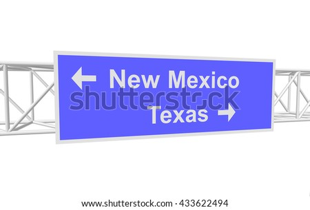 three-dimensional illustration of a road sign with directions: New Mexico; Texas - stock vector