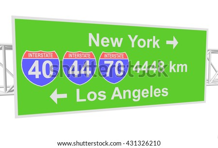 three-dimensional illustration of a road sign with directions: New York; Los Angeles - stock vector