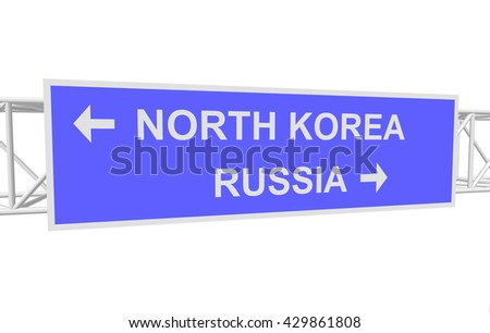 three-dimensional illustration of a road sign with directions: RUSSIA; NORTH KOREA