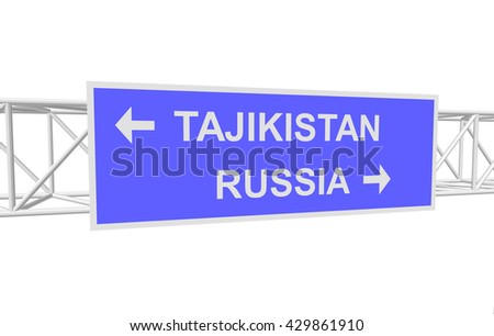 three-dimensional illustration of a road sign with directions: RUSSIA; TAJIKISTAN
