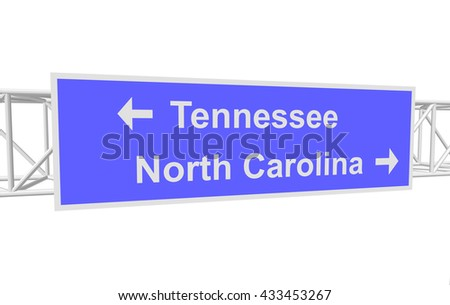 three-dimensional illustration of a road sign with directions: Tennessee; North Carolina