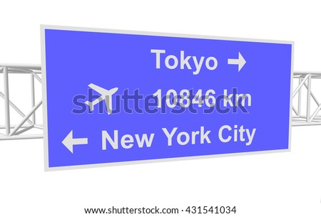 three-dimensional illustration of a road sign with directions: Tokyo; New York City; distance - stock vector
