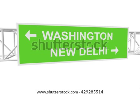 three-dimensional illustration of a road sign with directions: WASHINGTON; NEW DELHI - stock vector