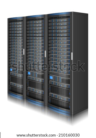 Three-dimensional illustration of network server,EPS 10 contains transparency - stock vector