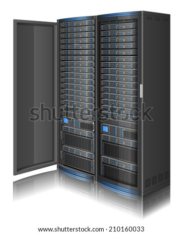 Three-dimensional illustration of network server,EPS 10 contains transparency