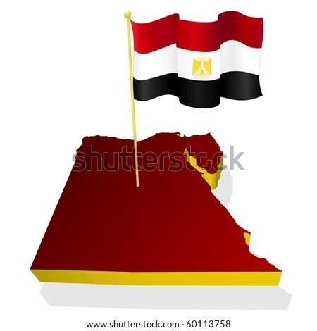 three-dimensional image map of Egypt with the national flag - stock vector