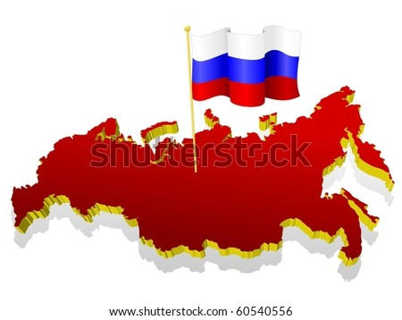 three-dimensional image map of Russia with the national flag - stock vector