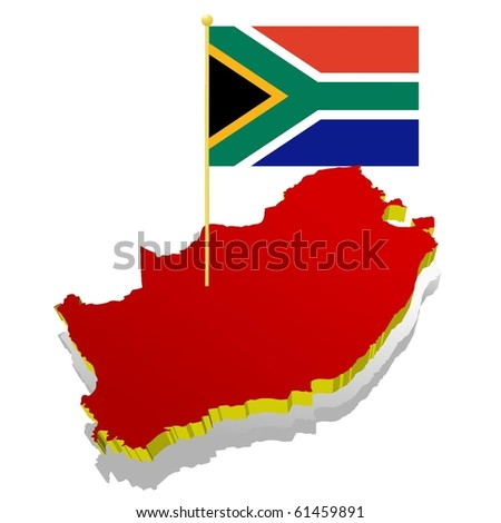 three-dimensional image map of South Africa with the national flag - stock vector