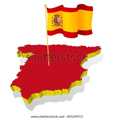 three-dimensional image map of Spain with the national flag - stock vector