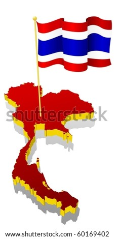 three-dimensional image map of Thailand with the national flag - stock vector