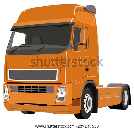 Three-dimensional image of an orange truck on a white background